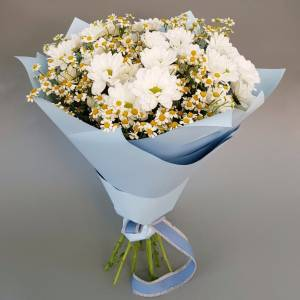 Сборный букет хризантемы и ромашки R1784