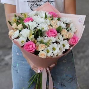 Сборный букет хризантемы и розы R526