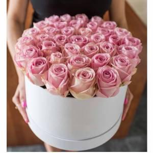 51 нежная розовая роза в коробке R381